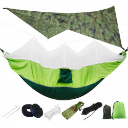 IPRee Lightweight Portable Camping Hammock and Tent Awning Rain Fly Tarp 2000 Waterproof Mosquito Net Hammock Canopy 210T Nylon Hammocks Tree Straps Sun Shelter Sky Screen Load 300KG
