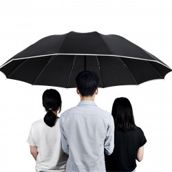125CM Three-Folding Large Automatic Umbrella With Reflective Strip Men Women Family Windproof Umbrella