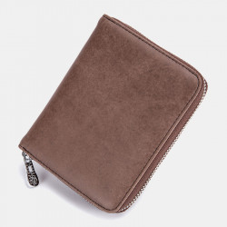 Men Women Anti-theft RFID Blocking Genuine Leather Zipper Card Holder Wallet Coin Bag