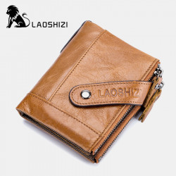 Men Genuine Leather Vinatge Anti-theft Zipper Coin Bag Wallet