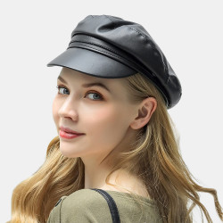 Faux Leather Beret Literary Wild Octagonal Hat Military Army Cap Flat Hats
