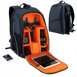 IPRee Portable Camera Bag Waterproof Photography Backpack 15.6 inch Laptop Bag Travel Pouch Bag With USB Headphone Jack