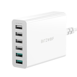 BlitzWolf BW-S15 60W Dual QC3.0 6-Ports Desktop USB Smart Charger Adapter for iPhone 11 Pro XR X for Samsung Xiaomi Huawei