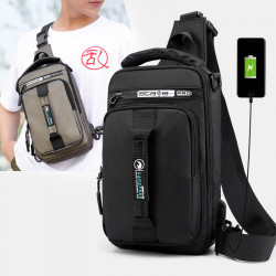 Men Fashion Multifunctional Chest Bag Shoulder Bag Backpack With USB Charging Port