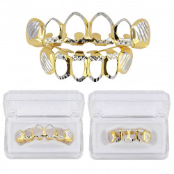 24k Gold Teeth Grill Plated Mouth Grills Bling Hip Hop Top Bottom Grill Set Dental Tools