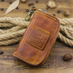 Men Genuine Leather Vintage Key Bag Wallet  Money Clip