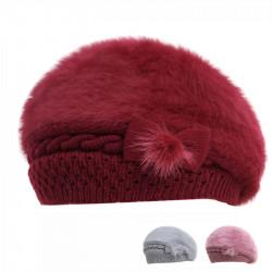 Bow Beret Outdoor Warm Hat Fur Winter Hat Beret Caps