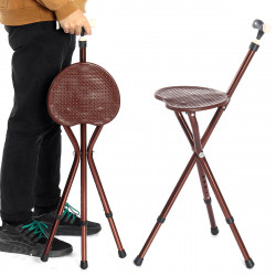 Height Adjustable Folding Rest-Stool Chair Cane With LED Light Portable Walking-Stick Chair Folding Chair For The Old