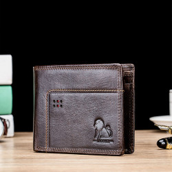 Men Genuine Leather Vinatge RFID Blocking Wallet