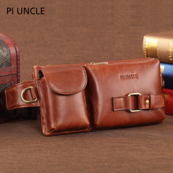 Men Genuine Leather Multifunctional Waist Bag Shoulder Bag Crossbody Bag