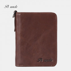 Men Genuine Leather Vintage RFID Blocking Zipper Coin Wallet Card Holder