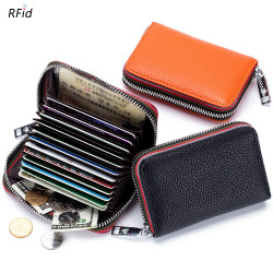 Men Women Genuine Leather RFID Blocking Wallet  Zipper Card Holder