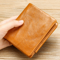 Men Genuine Leather Vintage Tri-fold Wallet Zipper Coin Pocket
