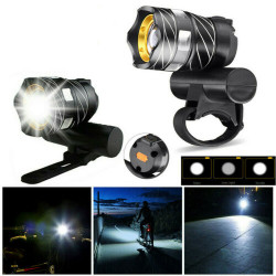 XANES XL44  650LM T6 LED Zoomable Bike Headlight USB Charging Super Bright Bike Front Light Cycling Warning Light