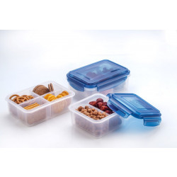 Elianware Ezy-Lock 100% Airtight Microwavable Food Containers (3 Compartments) - Blue
