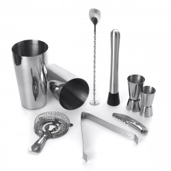 9 Piece Stainless Steel Cocktail Shaker Jigger Mixer Bar Drink Shaker Bartender Set Restaurant Supplies