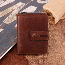 Men Retro Vintage RFID Blocking Anti-Theft Zipper Wallet Card Holder