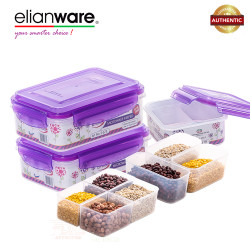 Elianware Ezy-Lock 100% Airtight Microwavable Food Containers (3 Compartments) - Purple