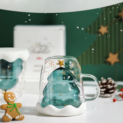 XH-121 300ML Innovative Christmas Tree Mark Cup Double-Layer Borosilicate Glass Transparent Coffee Cup For Family Parties And Bars Christmas Gift