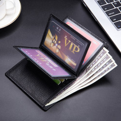Men Faux Leather Card Holder Thin Wallet