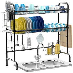 Stainless Steel Dishes Drainer Cutlery Holder Household Rack Drip Tray for Kitchen Storage Tool