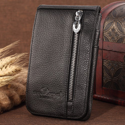 Men Genuine Leather Multifunctional Long Zipper Wallet Card Holder Waist Bag