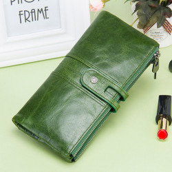 Women Genuine Leather Long Wallet Clutches Bag Card Holder Phone Bag