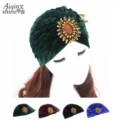 Buy One Get One Fashionable Velvet Indian Hat Head Scarf Tjm-21J