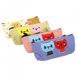 1 Set Of 4 Large Capacity Canvas Pen Pencil Case Stationery