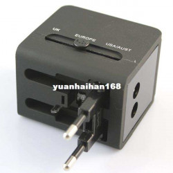 Dual Usb 1A Multi Nation Universal Travel  Adapter With Us Eu