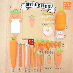 Carrot Pencil Case Stationery  Set Silicone Gel Pencil Book
